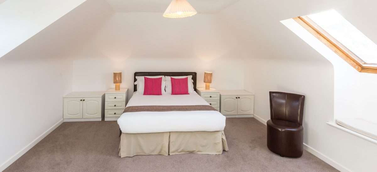 The Penthouse bedroom, La Collinette Hotel, Guernsey
